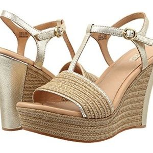 Fitchie Gold Metallic wedge sandal by UGG